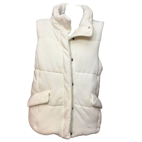 1ce7a9918 GAP Winter White Zip Snap Puffer Vest